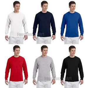 386eaa612382 Champion Long Sleeve Crew T-Shirt Tagless Gym Basic Workout Tee ...