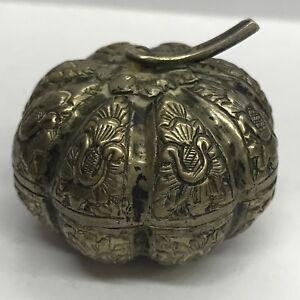 Antico Indiano in Argento pillola Ciondolo Box Novità Zucca/MELOGRANO 4cm