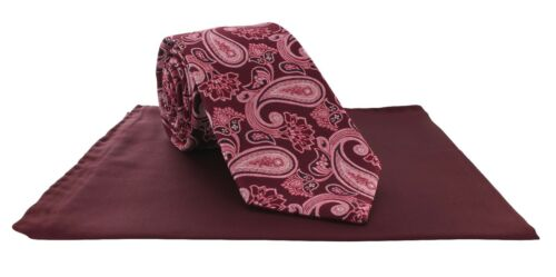 Michelsons of London Red Corbata Seda Paisley Gran Bolsillo Vino /& Set Cuadrado
