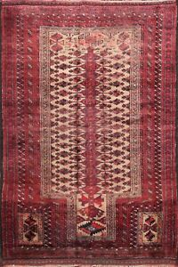 Vintage-Geometric-Tribal-Balouch-Afghan-Area-Rug-Hand-knotted-Foyer-Carpet-4-039-x5-039