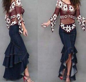 020f17455fd9d Hot Sexy Ladies Mermaid long dress Jeans Denim Pleated fishtail ...