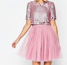 BRANDED SALON Crystal Crop Top Tutu Netted Mini Skater Dress UK 12/EU 40/US 8