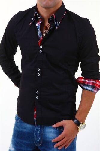 CARISMA Hemd Slim Fit Longsleeve Poloshirt Schwarz//Weiß//Blau T-Shirt Karo NEU