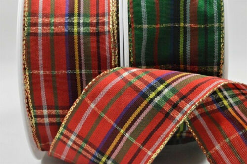 gold edge 40mm x 1M Wired Red or Green tartan ribbon Christmas! 1M FREE!