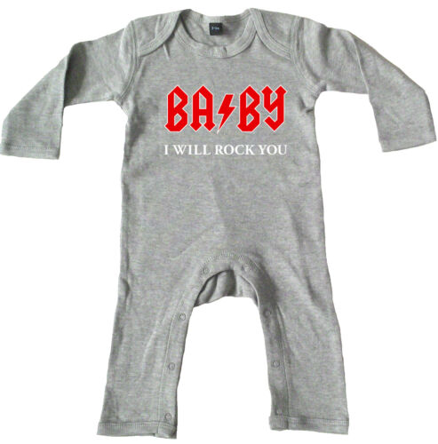 BABY I WILL ROCK YOU Rompasuit grey Strampler