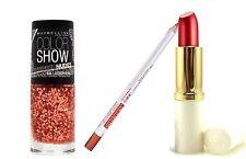 Estee Lauder & Maybelline 3pc Set MNY Varnish & Nectarine Pure Lipstick & Liner