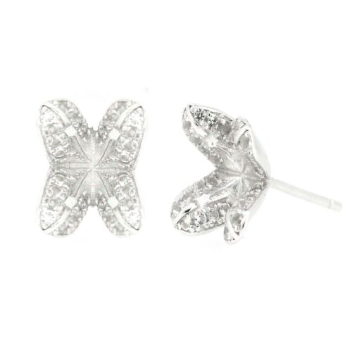 Sterling Silver Semi Mount Earrings Setting Round RD 5x5mm Stud Tulip Floral