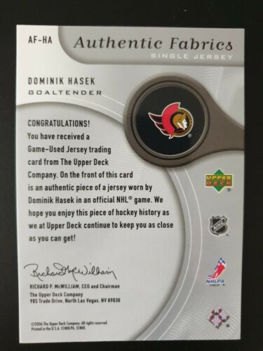 2005-06 sp Game Used authentic fabrics af-hectáreas dominik hasek