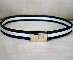 Details about NEW Authentic GUCCI ladies Black/White Web BELT 95/38 w/Gold  buckle 253488