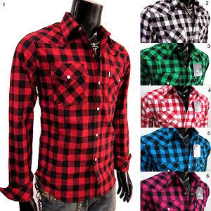 SNAP-WESTERN-COWBOY-CHECK-Plaids-SHIRT-long-sleeves-t-shirt-MEN-S-M-L-XL-XXL