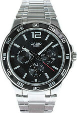 Casio MTP-1300D-1A Mens Stainless Steel Watch 3-Dial Multi-Hand Modern Dress NEW