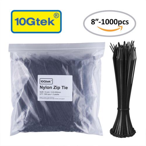 Self-Locking 8 Inch Nylon Cable Ties in Black 1000pcs Zip Ties