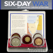 SIX DAY WAR - 50th Anniversary Collection of 5 Coins in Box + COA - Israel 1967
