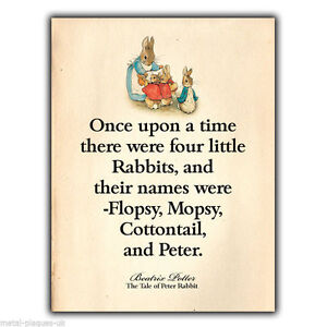 image is loading metal sign wall plaque peter rabbit beatrix potter