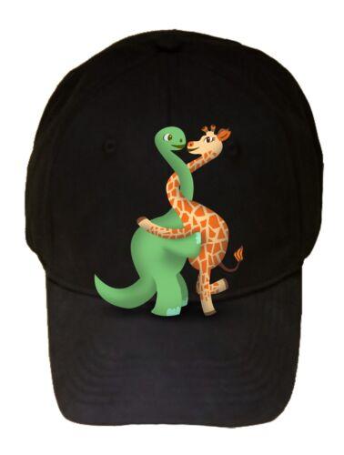 Dino Giraffe Luv Hug Dinosaur Cute Love Embrace Black Adjustable Cap Hat New