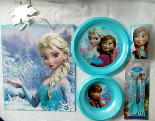 fourchette, cuillère Disney Frozen ensemble salle à manger-gobelet bol assiette COUVERTS Sac Cadeau