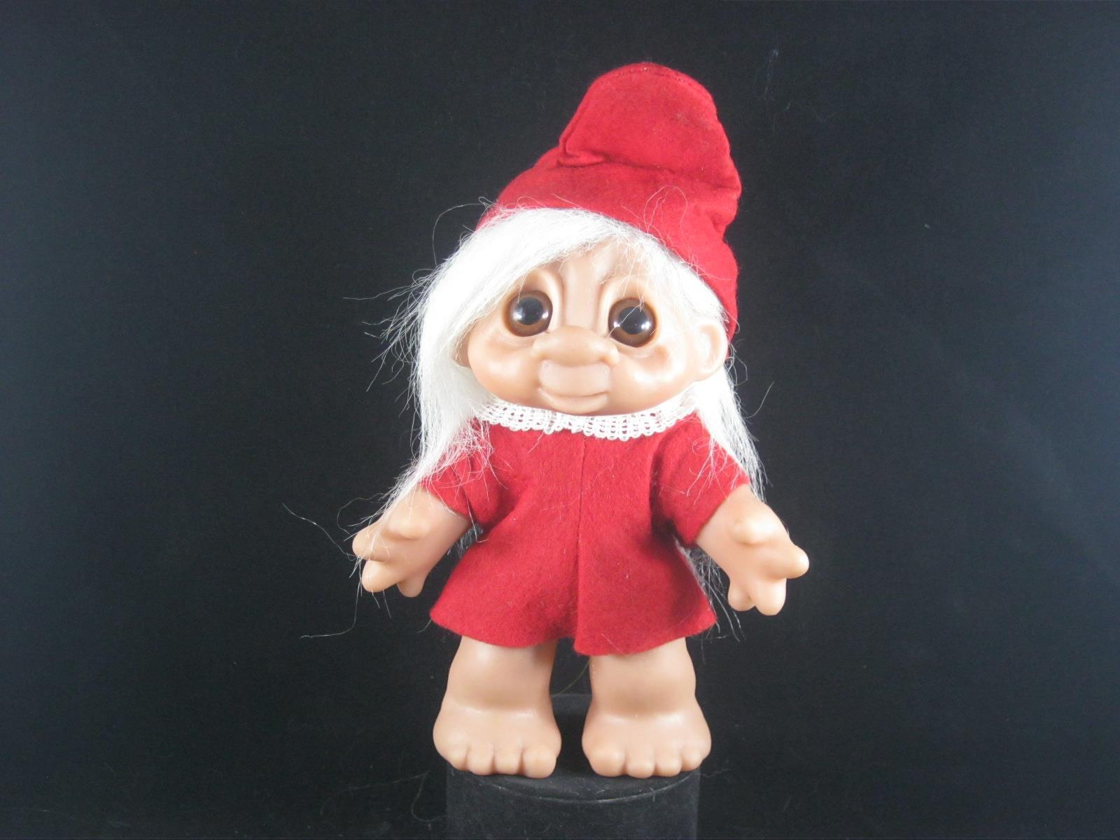 1988 6.5 DAM Elf pelo blancoo, Rojo Fieltro Vestido Con Encaje blancoo en el cuello y Rojo Hatu 656