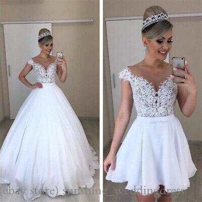 Long Short Wedding Dresses Detachable Skirt Elegant Lace Lique Bridal Gowns Ebay