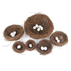 Simulation-Nest-Birds-Eier-Set-DIY-Gartenpflanze-Vogelnest-Rasen-Prop-Deco-sg