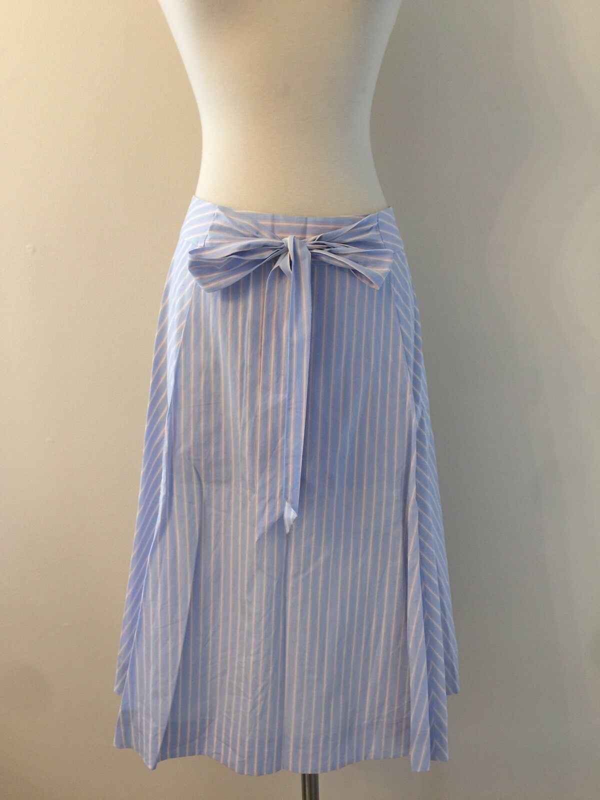 New Jcrew Women's Striped Poplin Belted Bow A Line Skirt Size 2