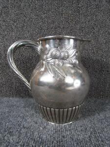 EXCEPTIONAL-ANTIQUE-AMERICAN-COIN-SILVER-PITCHER-signed-LINCOLN-amp-FOSS