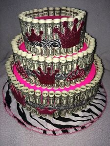 Pink Money CakeMade with REAL MONEY gift for