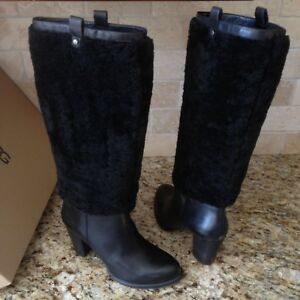 7b954db1e0a Details about UGG TALL BLACK AVA EXPOSED FUR LEATHER KNEE HIGH HEELS BOOTS  SIZE US 8.5 WOMENS