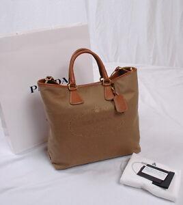 cd2a69d1cb7c Image is loading NWT-Prada-Shopping-Logo-Jacquard-Tote-Shoulder-Bag-
