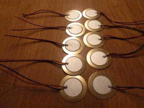 Confezione da 10 x 35mm PIEZO elementi PIEZO elementi ECOSCANDAGLIO SENSORE DISCO tamburo Trigger