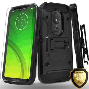 For-Revvlry-Revvl-2-Plus-Alcatel-7-Belt-CLip-Case-Tempered-Glass-Protector