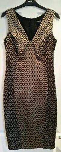 Bnwt Shift Next 8 Tailored From Size Dress Black Evening Gold Wedding BwxtRB