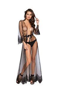Maxi Lace Sheer Nudo 256 o Li255 Robe Elegante ~ Roma Nero Ls FIntHxx