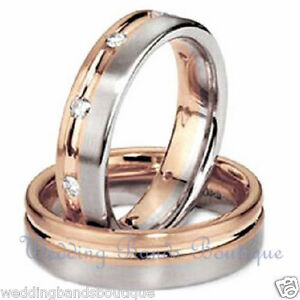 10k White Rose Pink Gold His Hers Matching Wedding Bands Set Diamond