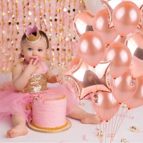 14Pc Rose Gold Series Foil Latex Balloon Set Helium Heart Wedding Birthday Party