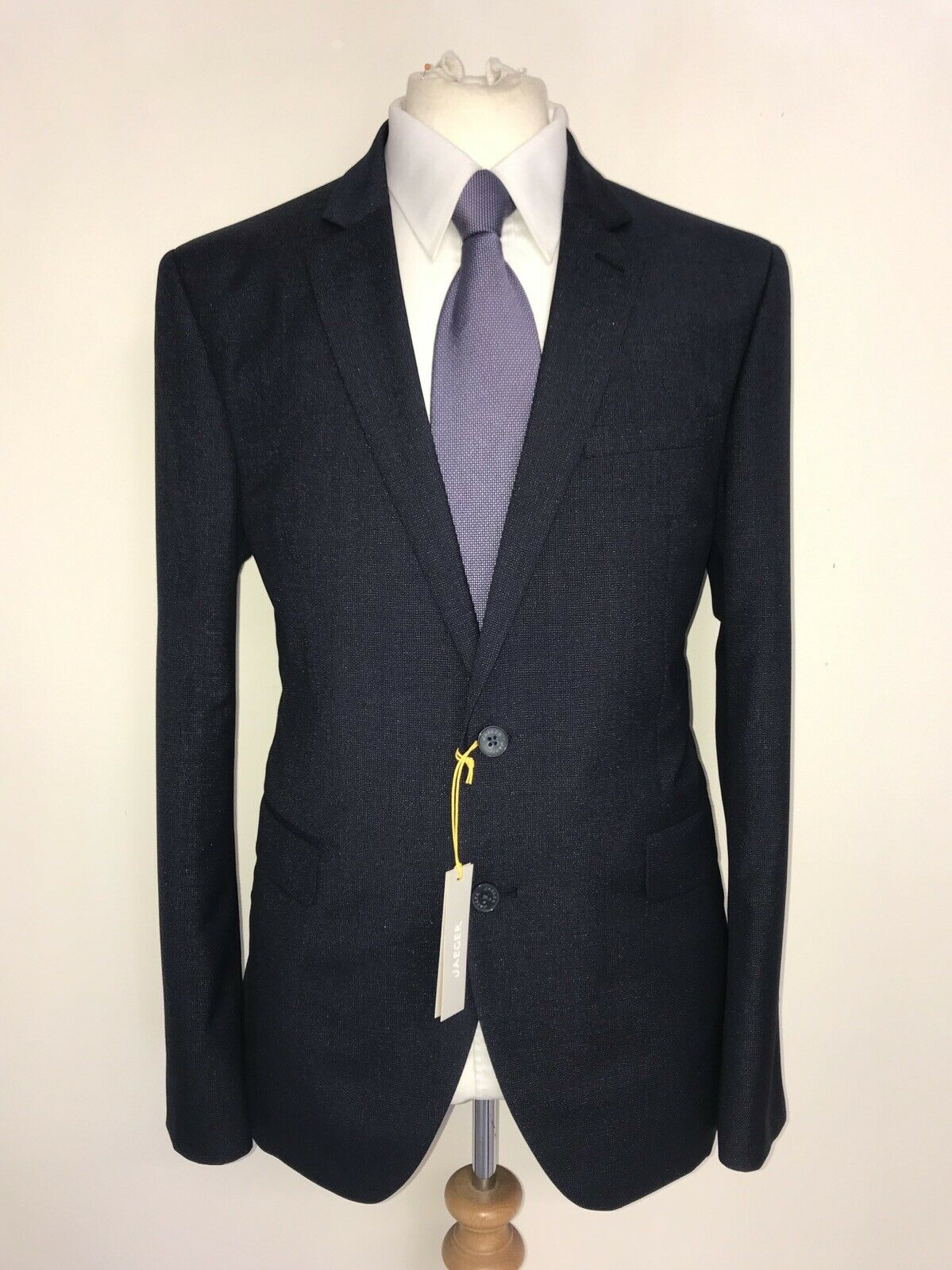 JAEGER -Männers Slim Fit NAVY Blau Wolle & SILK SUIT - 46 Reg -W40 L32 -BNWT