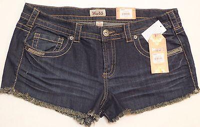 New  Junior solid blue denim mini shorts cotton blend Mudd  casual low rise 17