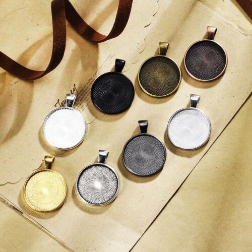 10pcs 25mm Round Base Tray Charm Necklace Pendant Cabochon Setting Blank Bezel