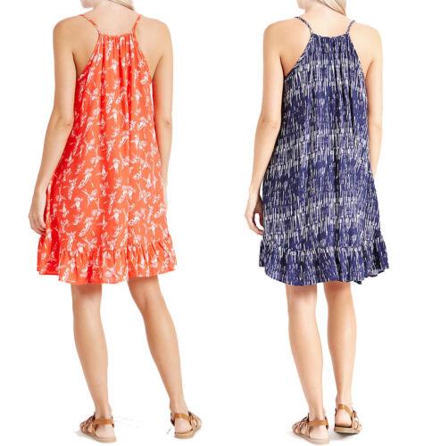 New Ex M/&S Ladies Flippy Summer Beach Dress Viscose Frill Strappy Top Size 8-22