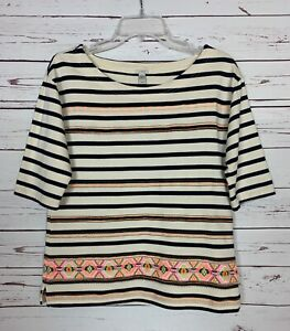 J.Crew Women's S Small Navy Striped Cute Embroidered Spring Top Shirt Blouse $98