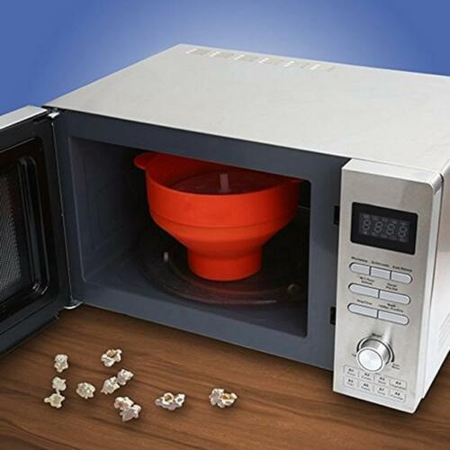 New Silicone Microwave Popcorn Maker Collapsible Home Bowl DIY Kitchen Tool L