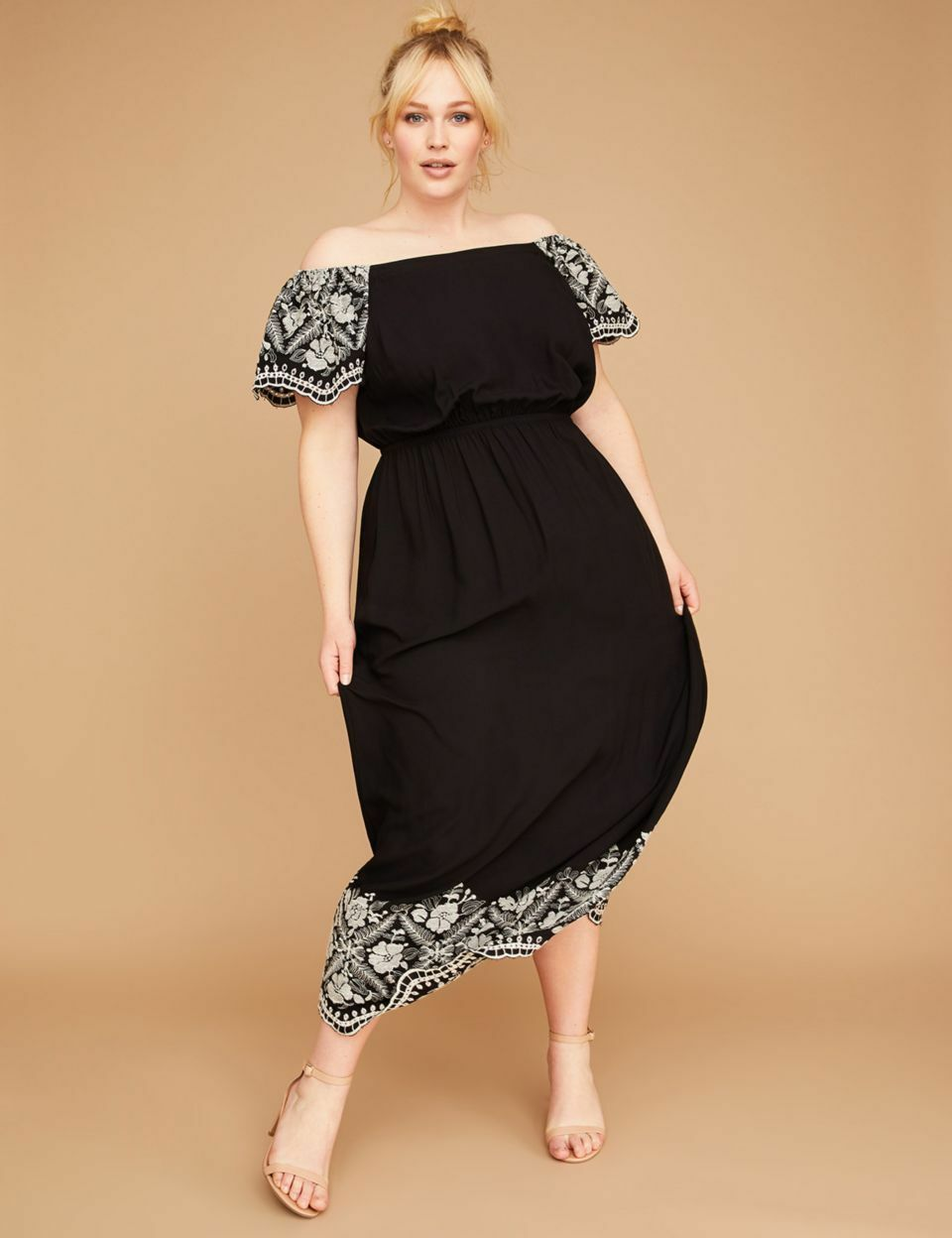 1cad5d400c9 NEW LANE BRYANT PLUS SIZE EMBROIDERED OFF THE SHOULDER MAXI DRESS SZ 18