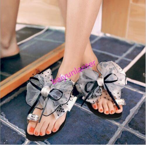 Femme Dentelle Nœud Papillon Toe Ring Chaussons à Enfiler Sandales Strass Chaussures SZ