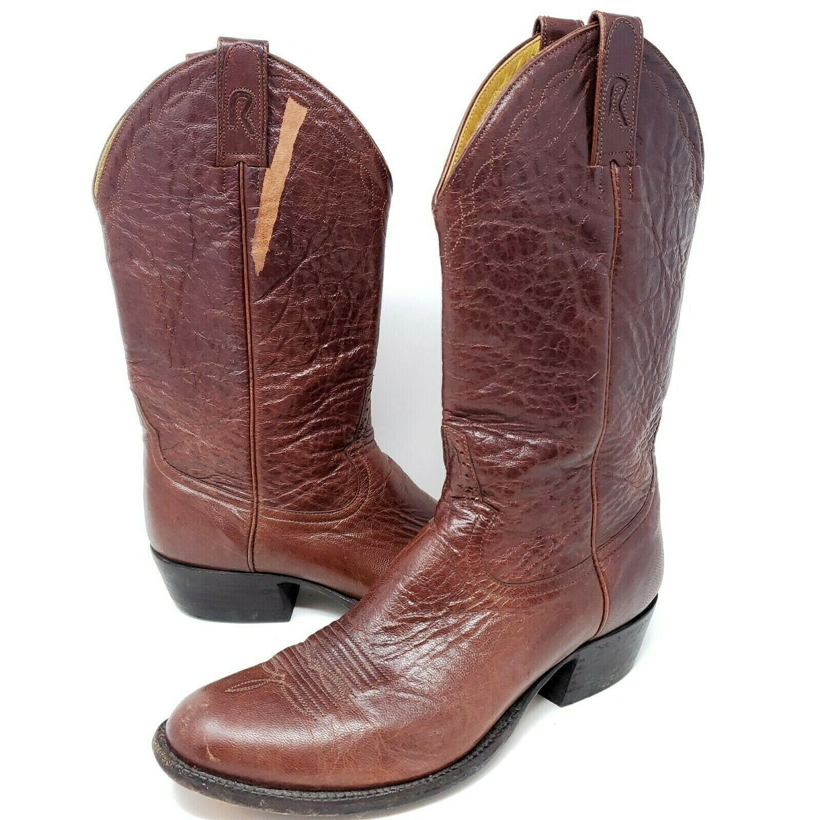 Rod Patrick Cowboy Boots Sz 11 D Brown Leather - Cosmetic Damage - Please Read