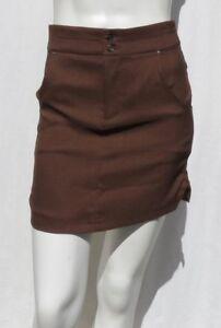NEW-SPORTHILL-Women-s-Stretch-Brown-McKenzie-Straight-Mini-Skirt-size-XS