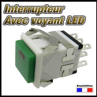 984V# interrupteur vert carré  avec LED  de 1 à 10 pcs  ON - ON switch