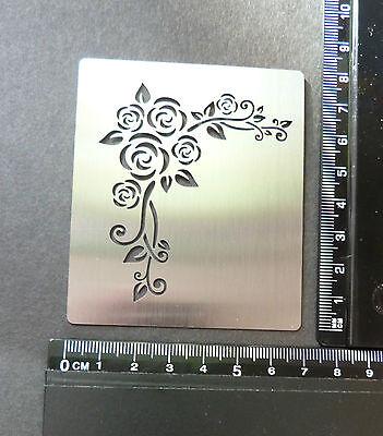 Stainless/Steel/stencil/Oblong/Corner/Rose/Emboss/PRETTY/NEW
