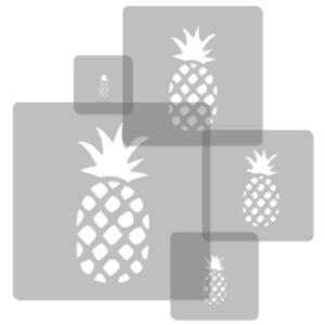 Pineapple Template   5x Reusable Plastic Stencils 34x34cm To 9x9cm Nursery Template