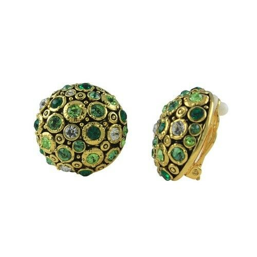 QVC Joan Rivers Green Jeweled Bloom Clip Earrings   114