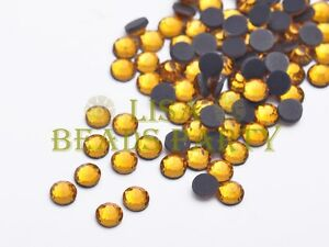 New-500pcs-SS20-5mm-12-Facets-DMC-Hotfix-Iron-On-Crystal-Rhinestones-Gold