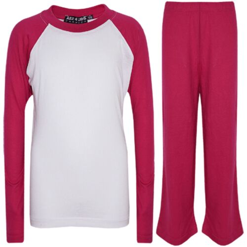 Kids Girls Boys PJs Plain Color Stylish Color Cotrast Pajamas Set Age 2-13 Years